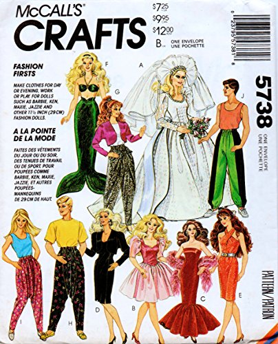 """McCall's 5738 Clothes for Fashion Dolls such as Barbie and Ken, and Other 11.5"""" Fashion Dolls Sewing Pattern Vintage 1992 Mermaid Wedding Dress"""