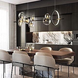 Lustre noir créatif abat-jour à bulles de verre lustre suspendu pour restaurant lampes suspendues décoratives salon lumina...