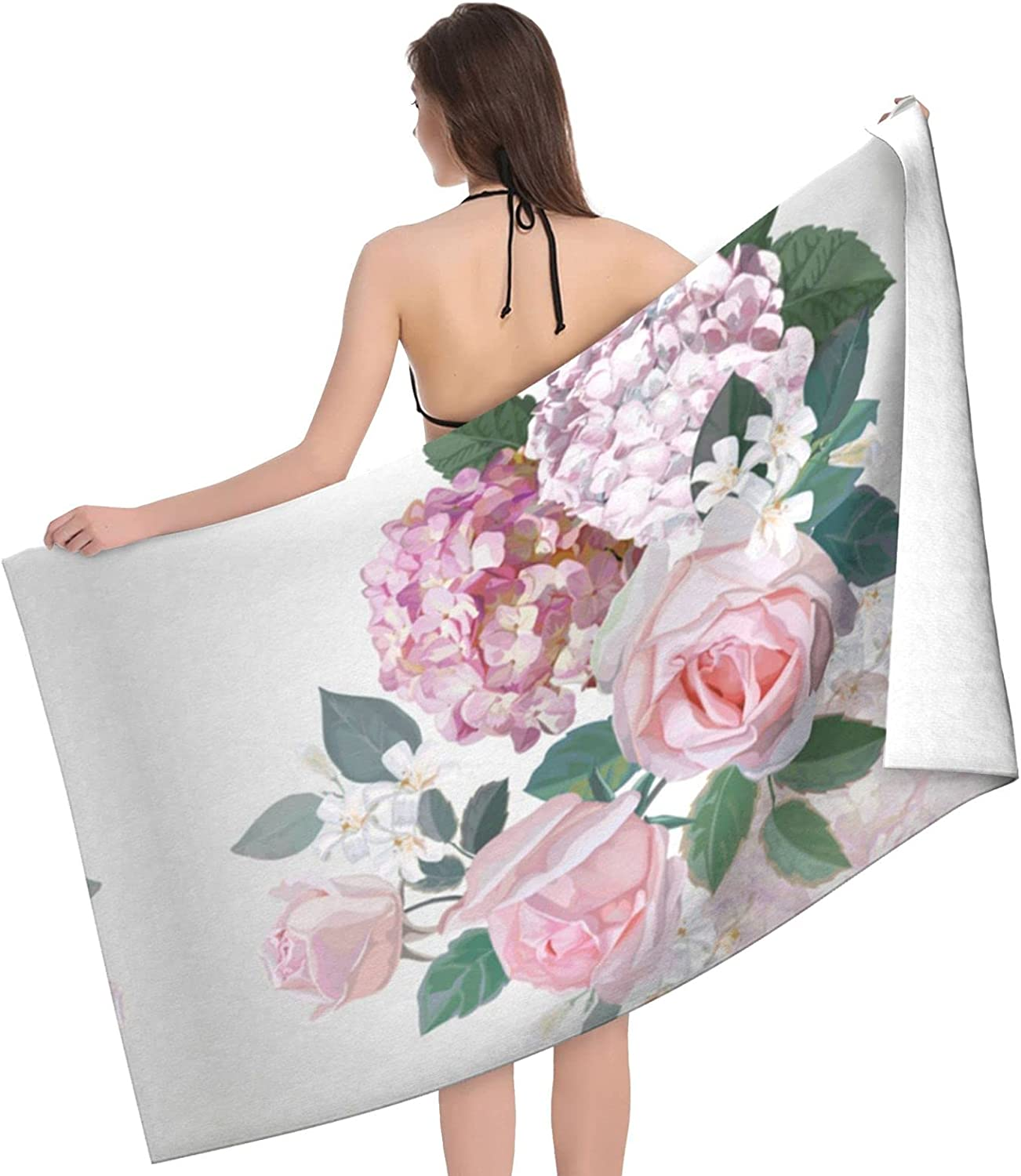 Pink Rose It is very popular Hydrangea Print Adult Beach - Max 64% OFF Doubl Towels Towel