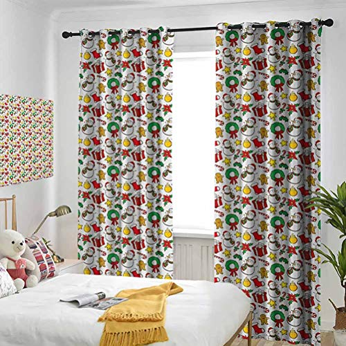 LanQiao Window Blackout Curtains,Cartoon Design Snowman Star Fireplace Socks Red Poinsettia Flower Ornaments Print,Suitable for Any Room Scene W84 xL84