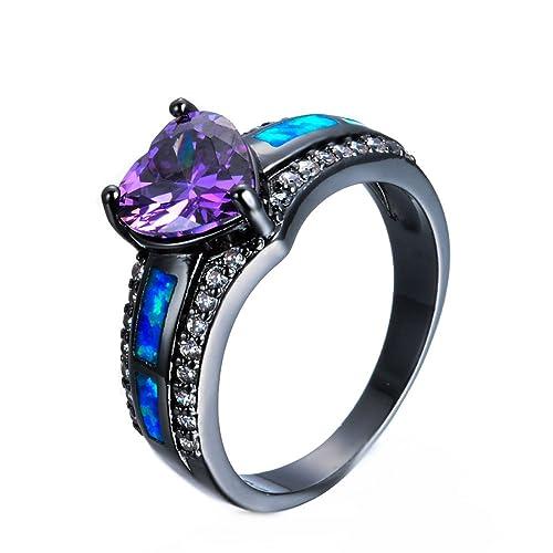 7320e8f1f Shireake Baby Multicolor Heart Zircon Blue/Purple Opal Rings Rings for Women  Vintage Fashion Black