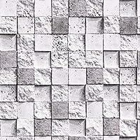 リビングルームキッチンの3dモザイク壁紙フェイクレンガテクスチャ壁紙(1ロール、W 0.53m x L 9.5m),グレー