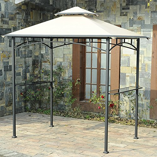 Sunjoy 110109175 Original Replacement Canopy for Led Lighted Grill Gazebo (8X5 Ft) L-GG001PST-F Sold at Wal-Mart US, Sesame