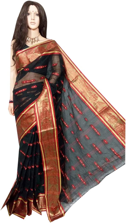 Indian Saree Ethnic Pure Cotton Black Sari Designer Collection Party Formal Women Wear 118a