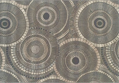 Super Area Rugs,Patio Deck Indoor Outdoor Rings Rug Low Maintenance Carpet, Gray 8' 2' X 10'