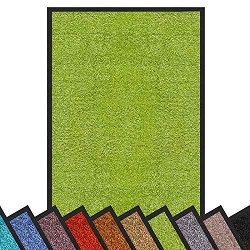 Schmutzfangmatte Rhine | schadstoffgeprüft | waschbare & extra leistungsstarke Fußmatte | Sauberlaufmatte mit Rutschfester Rückseite | Türmatte in vielen Größen & Farben (120x180 cm, Grün)