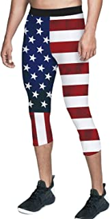 Men's Compression Workout Training Pants American Flag Running Sports Leggings for Running