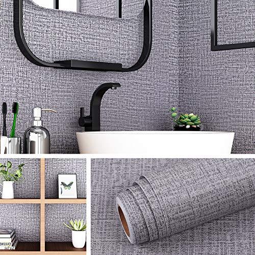 Livelynine 40CMx10M Selbstklebende Tapete Grau Muster Klebefolie Wand Deko Folie für Wände Türen Badezimmer Wohnzimmer Schlafzimmer Küche Schränke Fensterbank Abwaschbar Wasserdicht PVC Wandbelag