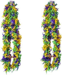 Deluxe Mardi Gras Feather Boa Costume Accessory, Huge 72 Inches, Mardi Gras Party Decoration, Mardi GrasParty Supplies, Mardi Gras Party Favor, 2 Pack, by 4E's Novelty,