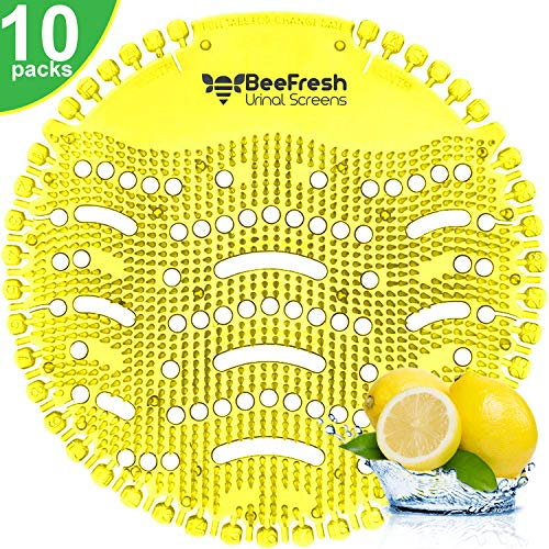 Urinal Screens Deodorizer (10 Pack), Anti-Splash & Odor Freshener, Scent Lasts for Up to 5000 Flushes –Ideal for Bathrooms, Restrooms, Office, Restaurants, Schools (Yellow Lemon)