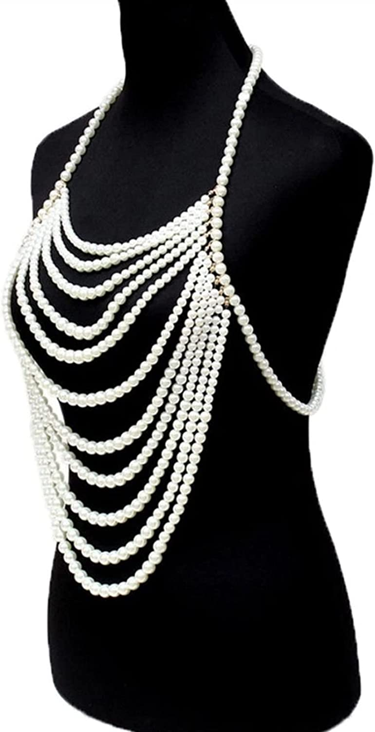 ZHBO Unique Multilayer Imitation Pearl Body Chain, Sexy Chest Necklace Chain Jewelry Lingerie Party Accessories for Women (Metal Color : Pearl)