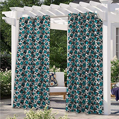 Outdoor Blackout Curtains Wildlife Pattern with Hand Drawn Dragonfly and Butterflies Flat Style Anti-Uv Windproof Curtains Used in Hardtop Gazebo Sky Blue Black White W120 x L96 Inch