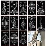 Xmasir 30 Hojas Tatuaje de henna Plantilla/Brillos Set de templos para tatuaje temporal, Patrón de encaje Tatuaje de henna Juego de pegatinas para pintura artística