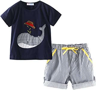 Mud Kingdom Little Boy Short Clothes Set for Summer Holiday Whale