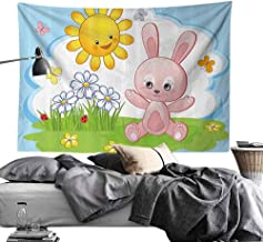 Homrkey Bed Linen Tapestry Kids Decor Cute Bunny Rabbit in Flower Garden with Happy Sun Lady Bugs and Butterfly Print Wall Hanging W24 x L20 Multicolor