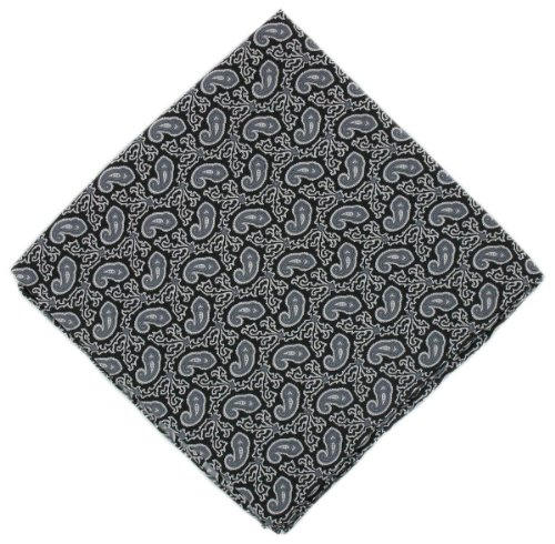 Michelsons of London Mouchoir noir Petit Paisley Silk de