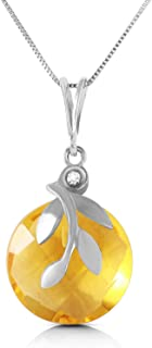 ALARRI 5.32 Carat 14K Solid White Gold Necklace Checkerboard Cut Citrine Diamond with 20 Inch Chain Length
