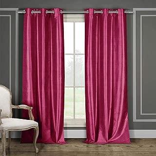 Duck River Textile Bali Faux Silk Grommet Top Window Curtain 2 Panel Drape, 38 X 84, Fuchsia