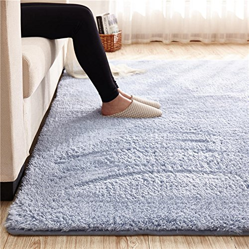Super Soft Blue Gray Area Rug Kids Rugs Artic Velvet Mat with Plush and Fluff for Bedroom Floor Bathroom Pets Home Hotel Mat Rug (3' x 5', Blue Gray)
