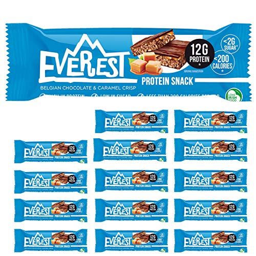 Everest Snacks Protein Snack - Healthy Protein Bars - Low Sugar, Low Calorie Guilt-Free Sports Bars - High in Fibre and Protein - 15 x 40g Protein Bars - Belgian Chocolate & Caramel Crisp