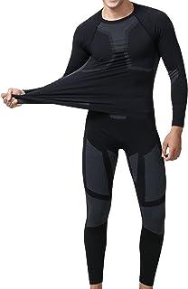 مجموعة ملابس داخلية حرارية رياضية للتزلج بخاصية سريعة الجفاف مُكوّنة من قميص وسروال للرجال من يووي