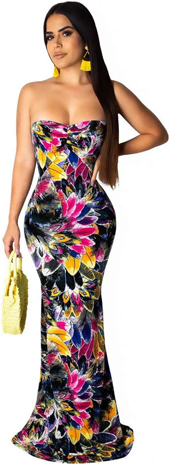 XIAOPANGHAI Tropical Print Strapless Backless Long Maxi Floral Dress Plus Size Boho Beach Party Summer Dresses
