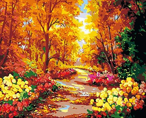 WONZOM Pintura por Números para Adultos, DIY Pintura por Números Kit para Niños, Bosque de otoño Paisaje 16 * 20 Pulgadas Sin Marco