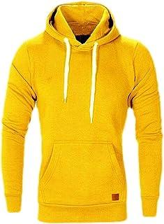 UUYUK Men Pullover Casual Sports Pocket Long Sleeve Hooded Sweatshirt