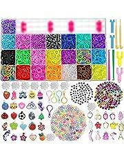 behave® 6460 XXL Loombanden Box Set - Starterset Box met 22 kleuren + loombord + haken en vele extra's - eco-vriendelijk latex vrij rubber Loom - 330 kralen - 500+ S-clips - 35 hangers