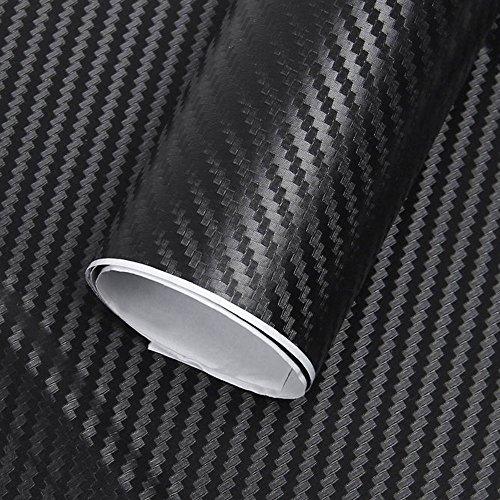 Autofolie Carbon 3M Aufkleber Wrapping Farbeänderung Film 3D DIY mit Luftkanäle Verdickt Dekorative Schwarz 152*30cm 2 Rolle