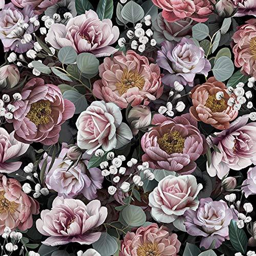 20 Servietten Vintage Blumen auf schwarz | Tischdeko 33x33cm