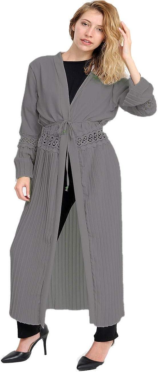 Ladies Womens Waterfall Lace Belted Pleated Open Long Cardigan Kimono Drape Top