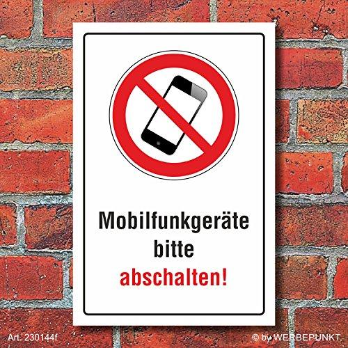 Schild Mobilfunkgeräte abschalten Handy telefonieren verboten Alu-Verbund 300 x 200 mm