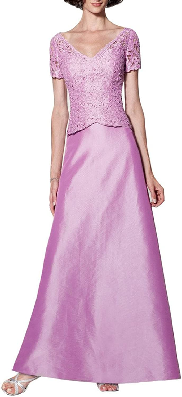 Emmani Women's Long VNeck Lace Short Sleeve Mother Evening Dresses