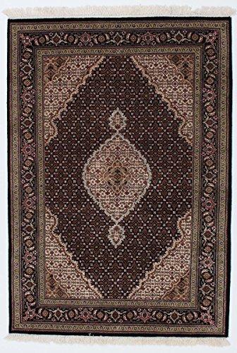 Nain Trading Indo Täbriz 203x140 Orientteppich Teppich Dunkelgrau/Dunkelbraun Handgeknüpft Indien