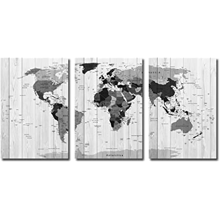 World Map Canvas Wall Art 3 Panel Vintage Detailed Executive Map Poster Wood Texture Canvas Giclee Print Gallery Wrap Modern Home Décor Ready To Hang Posters Prints