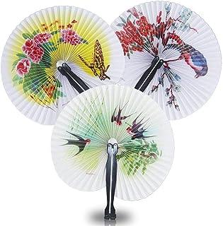 Isuper 12 abanicos de Papel Plegable Round Pack acordeón Plegables portátiles Ventiladores Ventiladores de Papel Chinas para niños y Adultos para su casa