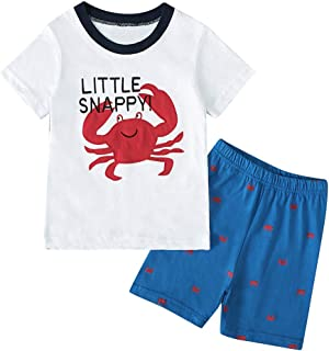 🌸Hot!!Toddler Kids Boys Cartoon Print T-shirt Tops+Shorts Pajamas Outfits MS-SM Infant Baby Cute Fashion Short Sleeve O-neck 2Pcs for 1Y-7Y