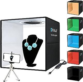 【30cm】PULUZ 簡易スタジオ シンプルな撮影ボックス 円形led搭載 折りたたみ式撮影キット 持ち運びが便利 シューティングボックス テーブル撮影 物撮り 自宅撮影 ぶつどり 卓上撮影 光度10レベル調整可能 組立簡単 6色背景色(赤/...
