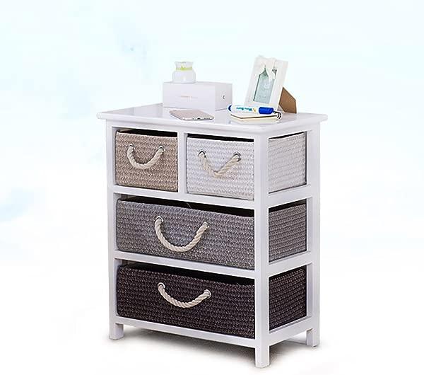 DDSS Drawer Locker Nightstand Solid Wood Rattan Storage Box Drawer Bedroom Locker 4 Drawers