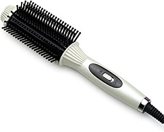 Two-In-One Hair Curler Anti-scald Flat Irons Straightening Brush&Curling Tool Multifunctional Electric Hair Straightener Comb,white
