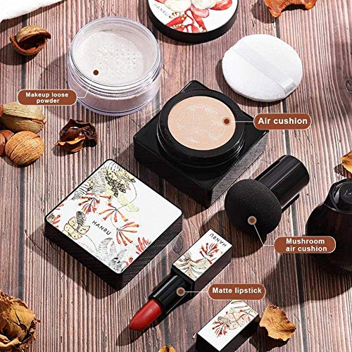 Mushroom luchtkussen BB Cream Feuchtigkeitsbefeuchten De plekjes die Under Make, Mushroom Head luchtkussen Foundation, Lippenstift, Make Up Set voor vrouwen, 4 stuks fine