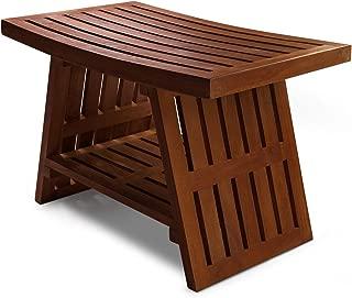 HydroTeak Hana Original Teak Shower Bench With Shelf, Teak Wood Bath Chair for Spa, Pool, Bathroom, Coated with Teak Oil (HTST04)(Fully Assembled)
