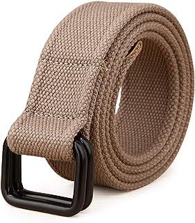 YAOLUU Cinturón de Lona de los Hombres de Doble Anillo de Hebilla Pantalones de Moda con Hebilla Lisa Cinturón Informal L1...