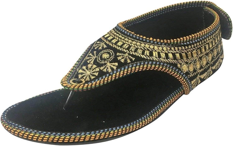 Step n Style Black Ethnic Sandals Flat Flip Flops Pom Pom Sandals Handmade Sandals Jooti