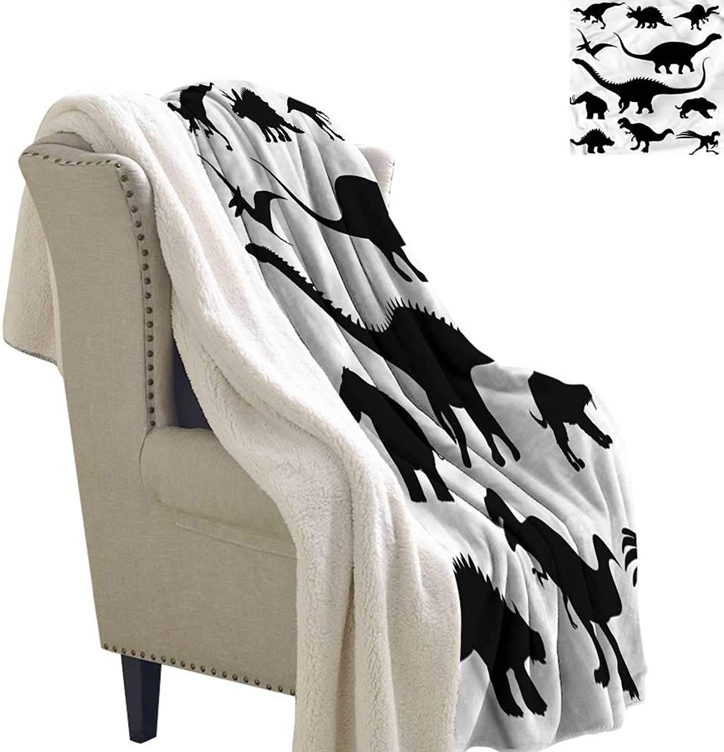 AndyTours Winter Quilt Dinosaur Silhouettes Predators Blanket for Family and Friends W59 x L31
