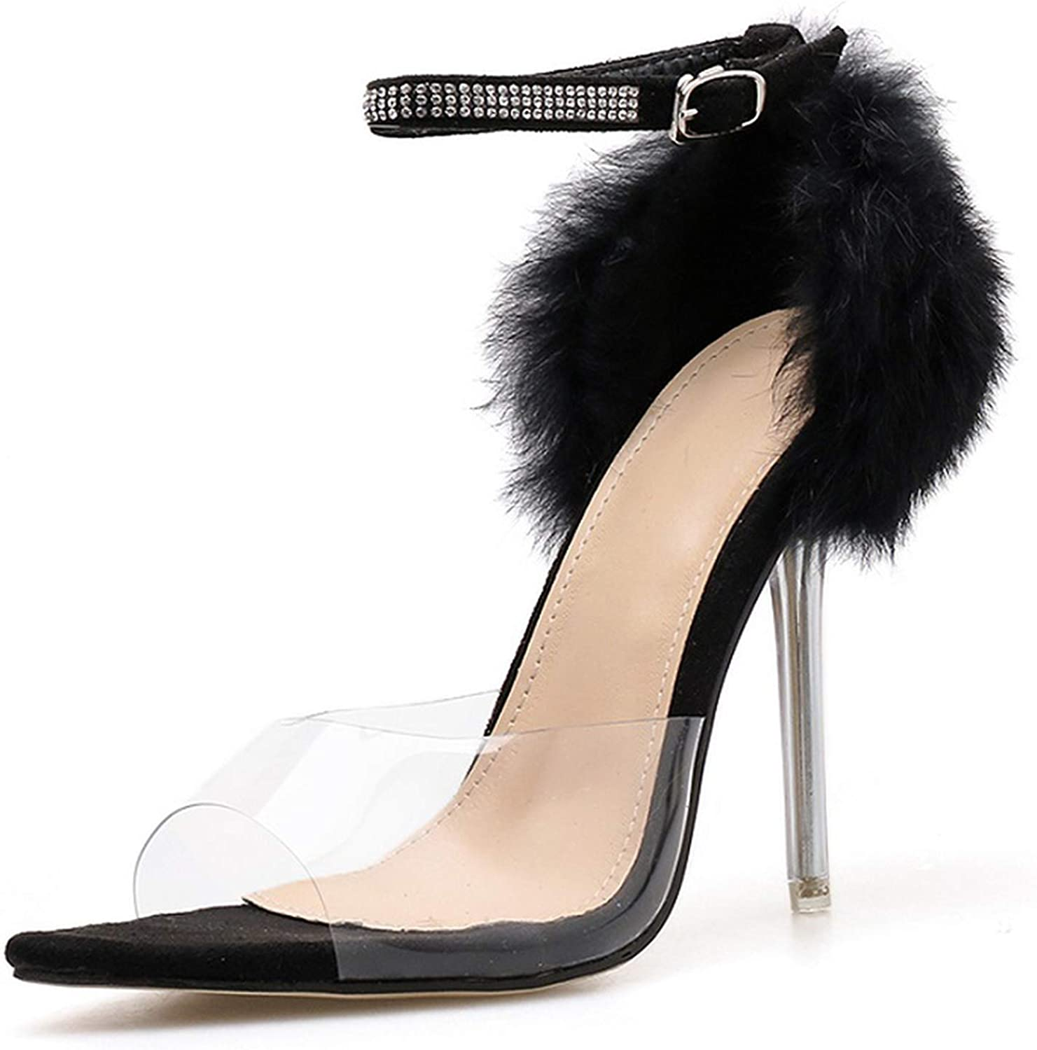 SP-pink Transparent High Heel Sandals Rhinestone Buckle with Pointed Open Toe Mane Decorated Stiletto Sandals