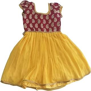 Pattu Pavadai Just Born Baby Girls Raw Silk Mango Butta Frock (Yellow and Maroon; 5 Years)