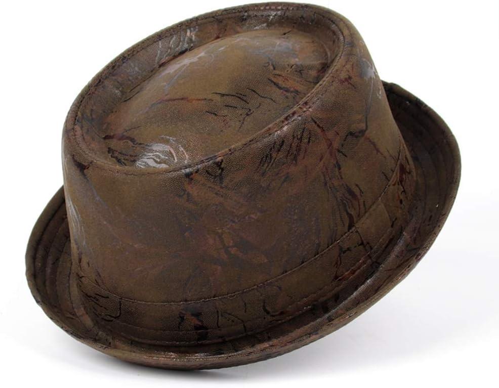 Hat Cap Retro Free Shipping Some reservation New Men Leather Pork Jazz Fedora Pie f Dad