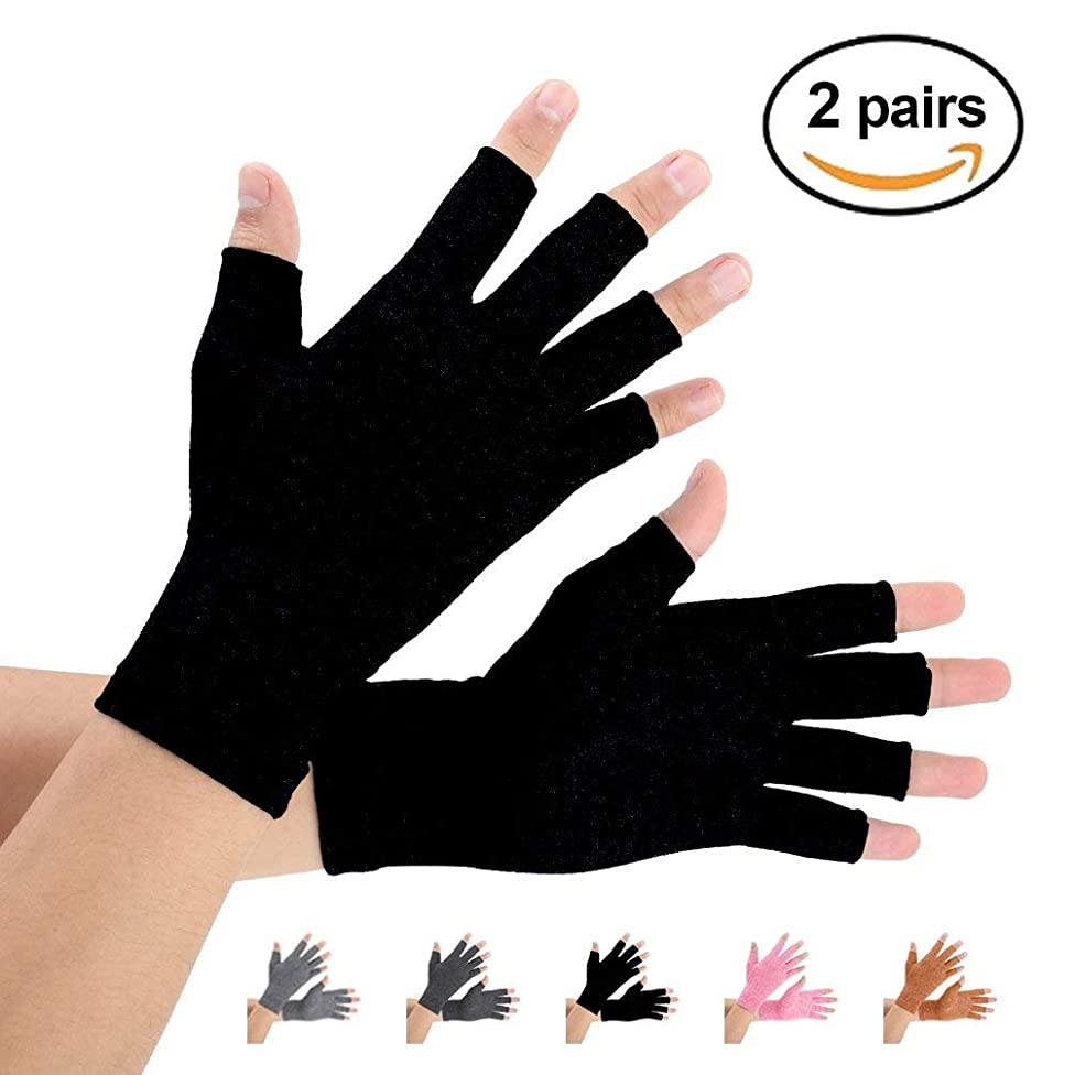 Arthritis Gloves 2 Pairs, Compression Gloves Support and Warmth for Hands, Finger Joint, Relieve Pain from Rheumatoid, Osteoarthritis, RSI, Carpal Tunnel, Tendonitis(Pure Black, X-Large)